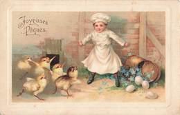 Paques Cpa Carte Fantaisie Illustration Enfant Cuisinier Poussins Oeufs - Pasqua