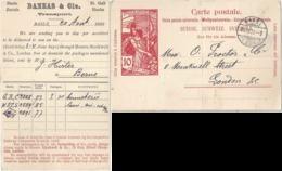 "PK 32  UPU  ""Danzas, Transport, Basel"" - London             1900 - Entiers Postaux"
