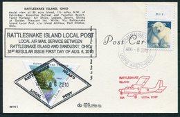 2010 USA Ohio, Rattlesnake Island, Triangle Local Post Postcard. Island Airways, Polar Bear. Sandusky, First Day - Locals & Carriers