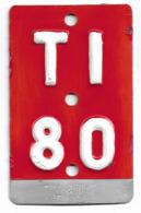 Velonummer Tessin Ticino TI 80 - Nummerplaten