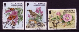ALDERNEY MI-NR. 100-102 A O FLORA Und FAUNA - VOGEL SCHMETTERLING WESPE BLUME - Alderney