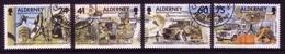 ALDERNEY MI-NR. 90-93 O FERNMELDEREGIMENT 1996 AUTO HUBSCHRAUBER FLUGZEUG - Alderney