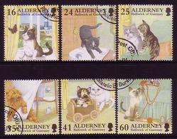 ALDERNEY MI.NR. 94-99 GESTEMPELT(USED) SPIELENDE KATZEN 1996 - Alderney