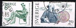 SUEDE / Oblitérés /Used /1983 - Nils Ferlin Poête Et Sculteur/Bicentenaire Signature Du Traité USA/SUEDE - Oblitérés