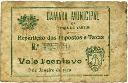 PÓVOA DE VARZIM - Cédula De 1 Centavo - Escassa - M.A. 1898 - 5.1.1920 - Portugal - Emergency Paper Money Notgeld - Portugal