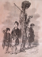 Gravure 1864  LE JOUEUR DE CORNEMUSE   Dessin De GAVARNI Bagpipe - Stiche & Gravuren