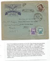 GANDON 3FR BRUN SEUL LETTRE MARSEILLE 1946 POUR HYERES + REEXPEDIEE A MARSEILLE TAXE 4FR+2FR - 1945-54 Marianne De Gandon
