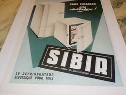 ANCIENNE PUBLICITE REVELATION REFRIGERATEUR SIBIR 1951 - Autres Appareils