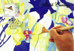 30Q: CM,Carte Maximum Card,Malaysia Batik Orchid Flower Design Linen, Maxi Card, MC - Textiel