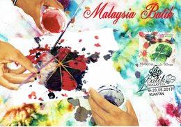 30Q: CM,Carte Maximum Card,Malaysia Batik Design Linen, Maxi Card, MC - Textiel