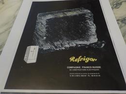 ANCIENNE PUBLICITE FRIGO TECHNIQUE SUISSE  LE REFRIGOR 1951 - Autres Appareils