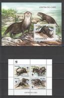 ST2908 2016 MOZAMBIQUE MOCAMBIQUE ANIMALS & FAUNA WWF LONTRA-DO-CABO 1KB+1BL MNH - W.W.F.