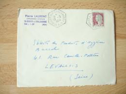 Saint Didier Sur Chalaronne  Recette Auxiliaire Cachet Hexagonal Sur Lettre - Postmark Collection (Covers)
