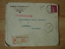 Marseille  C  Recette Auxiliaire Cachet Hexagonal Sur Lettre Recommande - Postmark Collection (Covers)