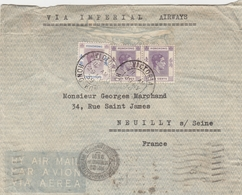 HONG KONG GEORGE VI 1 DOLLAR + PAIRE 10 C YT 153+145 SUR LETTRE VIA IMPERIAL AIRWAYS VICTORIA 29/5/39 FRANCE NEUILLY S/S - Hong Kong (...-1997)