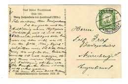 Amberg Ganzsache Burg Hohenstein/Hersbruck Nach Nürnberg 1935 - Deutschland