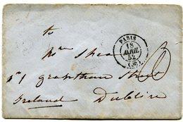 PARIS Env. Pour DUBLIN IRLANDE Du 18/04/1852 Taxe Manuscrite De 80 ?? - 1849-1876: Periodo Clásico
