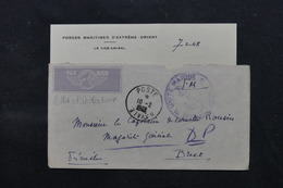 FRANCE / INDOCHINE - Enveloppe + Contenu De Saïgon Pour Brest En 1948, Cachet Ancre De Marine - L 59590 - Marcophilie (Lettres)