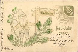 Gaufré Lithographie Glückwunsch Neujahr, Zwerg Mit Kleeblättern, Jahreszahl 1903 - New Year