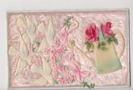 27900 Fantaisie  Fleurs - Arrosoir Roses Colombe Velours Relief -vers 1910 - Fleurs