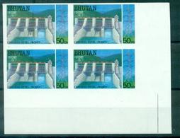 BHUTAN N° 803A Barrage Hydroélectrique NON DENTELE Bloc De 4 C De F Neuf Xx TB RARE. - Bhoutan