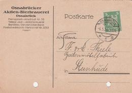 Deutsches Reich Firmenkarte Brauerei Bier Osnabrücker Aktien Bierbrauerei Osnabrück 1926 - Covers & Documents