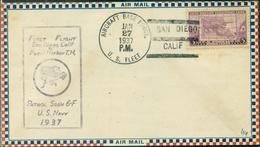 U S A 1er Vol 1937 SAN DIEGO / PEARL HARBOUR 27.1.1937 Verso Cachet D'arrivée TB . - 1c. 1918-1940 Cartas