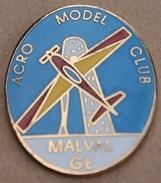 ACRO MODEL CLUB MALVAL GENEVE - SUISSE - AVION - JET D'EAU - PLANE -      (ROSE) - Vliegtuigen