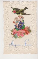27910 Fantaisie  Joyeuse Année Decoupi Enfant Oiseau Fleur Violette Balance Ange  Relief -  Vers 1910 - Nouvel An