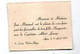Agen (47 Lot Et Garonne) Petit Faire-part Fiançailles   MARRAUD / LACAZE  1937 (PPP22700) - Engagement