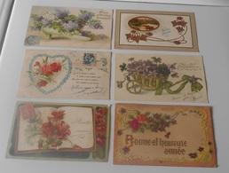 Lot 18 Cartes Postales Fantaisies Gaufrée - Fleurs - Plantes - Fantaisies