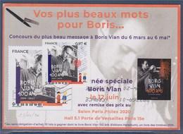 = Boris Vian Timbre Sur Carte Postale 15.4.20 écrivain, Poète, Parolier, Chanteur, Critique Musical, Musicien De Jazz - France