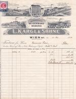 """Fattura Comm. Con Marca Da Bollo  -  Wien , Fabbrica Di Nastri Di Seta """" L. Kargl  &  Sohne """" - Autriche"""