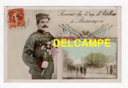 DD / 25 DOUBS / BESANÇON / SOUVENIR DU 4e RÉGIMENT D'ARTILLERIE , SOLDAT ET ENTRÉE DE LA CASERNE / 1910 - Besancon