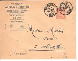 Obl DAGUIN Type Semeuse 15c ,Grenoble Pour Alberville Agence Fournier Publicite Française Et Etrangere - 1900-02 Mouchon
