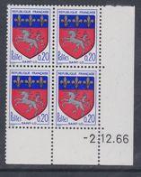 France N° 1510 XX Armoiries De Ville : Saint-Lô En Bloc De 4 Coin Daté Du 2 . 12  . 66 , Sans Charnière, TB - 1960-1969