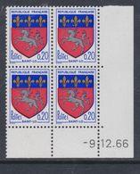 France N° 1510 XX Armoiries De Ville : Saint-Lô En Bloc De 4 Coin Daté Du 9 . 12  . 66 , Sans Charnière, TB - 1960-1969