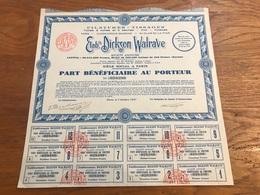 Action 1927 Filature Tissages De Dunkerque Ets Dickson Walrade - Textile