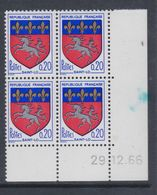 France N° 1510 XX Armoiries De Ville : Saint-Lô En Bloc De 4 Coin Daté Du 29 . 12  . 66 , Sans Charnière, TB - 1960-1969
