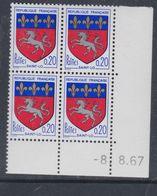 France N° 1510 XX Armoiries De Ville : Saint-Lô En Bloc De 4 Coin Daté Du 8 . 8  . 67 , Sans Charnière, TB - 1960-1969