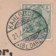 Deutsches Reich Karte Mit Tagesstempel Kahlbude 1912 Bz Danzig Westpreussen - Deutschland