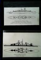 """Navire De Guerre - Plans Cuirassé """"SCHEER"""" Et Croiseur """"GNEISENAU""""  -  2 Coupures De Presse (illustration) De 1940 - Planes Técnicos"""