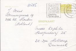 Netherlands Postal Stationery Ganzsache Entier Slogan 'Postcode' UTRECHT 1991 Auction House HELLERUP Denmark - Ganzsachen