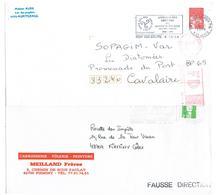 [FD_17] 4 Enveloppes Seules FAUSSE DIRECTION - FD - 4 Marques Différentes - Marcophilie (Lettres)