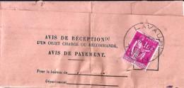 TYPE PAIX N° 369 SUR AVIS DE RECEPTION DE LAVAUR/14.12.38 - 1932-39 Paz