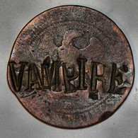 SATIRIQUE - 10 Ct 1854 Napoleon III - RARE ! Monnaie Napoleon 3 VAMPIRE CONTREMARQUE Militaria Curiosa Satyrique - D. 10 Centimes