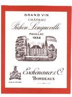 1 Etiquette Chateau Pichon Longueville 1934 ESCHENAUER - Etiquettes