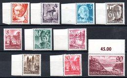 RHENO-PALATIN - YT N° 30 à 38 -  Neufs ** - MNH (sauf 33A *) - Cote: 138,00 € - Zone Française
