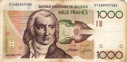 """BELGIUM 1000 FRANCS ND 1980-1996 VG-F P-144a """"free Shipping Via Registered Air Mail"""" - 1000 Francos"""
