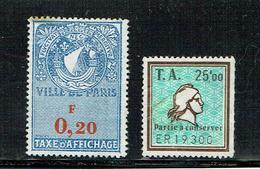 [B_22] 2 Timbres Taxe D'affichage Ville De PARIS 0,20F Et Timbre Amende 25 Francs - Autres